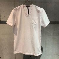 【PAZZO】製品染め VネックTシャツ ペールピンク