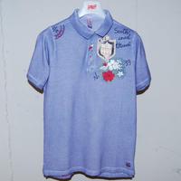 【BOB】オーバーダイ加工ポロシャツ ブルー