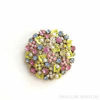 ART 1950's Malti-coloured Flowers Round Brooch カラフルフラワー ラウンド ブローチ(Su18-307B)