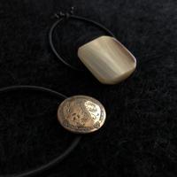 HEB / vintage buttons (metal leaf pattern・natural horn)