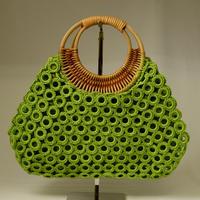 ベトナム製 ハンドメイド リング編み ハンドバッグ 【若草】