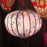 ベトナムランタン 丸形 Lサイズ パールピンク色【花柄】
