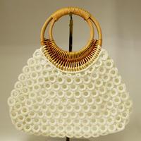 ベトナム製 ハンドメイド リング編み ハンドバッグ 【ホワイト】