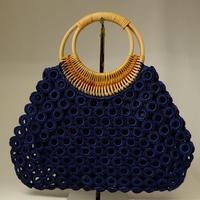 ベトナム製 ハンドメイド リング編み ハンドバッグ 【紺】