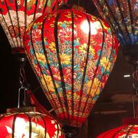 ベトナムランタン ほおずき形 Lサイズ 赤色【赤と黄色の花柄】