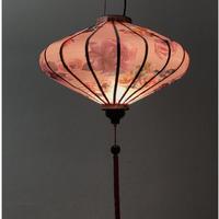 ベトナムランタン 円盤形 Lサイズ メタリック調ピンク【バラ柄】