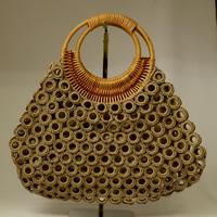 ベトナム製 ハンドメイド リング編み ハンドバッグ 【薄茶】