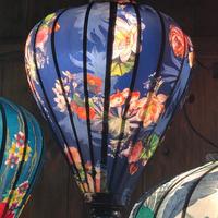 ベトナムランタン ほおずき形 Lサイズ 青色【花柄】
