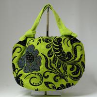 ベトナム製 ハンドメイド 花柄ビーズバッグ 【グリーン×ブラック】