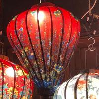 ベトナムランタン ほおずき形 Lサイズ 赤色【小花柄】
