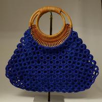 ベトナム製 ハンドメイド リング編み ハンドバッグ 【青】