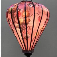 ベトナムランタン ほおずき形 Lサイズ メタリック調ピンク【花柄】