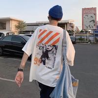 メンズ Tシャツ 人気 コーデ おしゃれ 大きい サイズ  肩落ち  プリント 白 黒 オレンジ