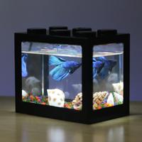 アクアリウム レイアウト 水槽 小型  魚 金魚 ベタ おしゃれ ライト付 キューブ ボックス