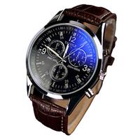 【メンズ腕時計】人気 ビジネス  男性 革ベルト 30代  青 アナログクォーツ ビジネス腕時計