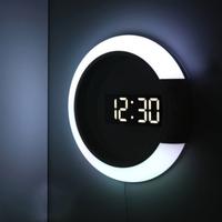 デジタル時計 おしゃれ 壁掛け LED 光る  ルームライト ミラークロック リモコン付き