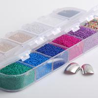 ビーズ ガラス トレンド ネイルアート 装飾 爪アート セット12 色 1 ボックス マイクロボール マイクロ クリスタル 爪