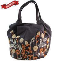 刺繍 ミニ バッグ ブラック 刺繍 フラワー かわいい 花柄 ベトナム雑貨 v1208
