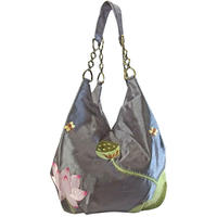 ショルダーバッグ レディース シルバーグレー シルク 刺繍 ハンドメイド v0906
