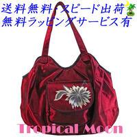 刺繍 バッグ レディース レッド フラワー シルク ハンドメイド v0924
