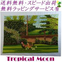 刺繍絵 アート ハンドメイド 芸術 作品 ベトナム 雑貨 新緑とにわとり vi0004