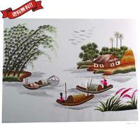 刺繍絵 アート ハンドメイド 芸術 作品 ベトナム 雑貨 働く島の女性たち vi0028