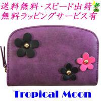 コンパクト 財布 二つ折り 花飾り レディース パープル 8819