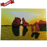 刺繍絵 アート ハンドメイド 芸術 作品 ベトナム 雑貨 世界遺産ハロン湾 vi0023