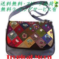ショルダーバッグ 花刺繍 ライトグレー ハンドメイド パッチワーク v0834