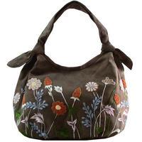 刺繍 ミニ バッグ カーキブラウン 刺繍 フラワー かわいい 花柄 ベトナム雑貨 v1218