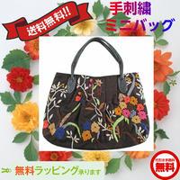 刺繍 バッグ ブラック 花柄 ミニ かわいい ハンドメイド 送料無料 v0993