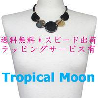 ネックレス レディース バッファローホーン 日本製 水牛の角 ビジュー ショート a0157