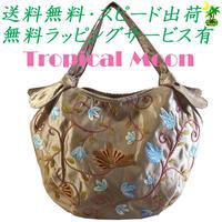 刺繍 バッグ ベージュ ミニ 花 シルク ハンドメイド v0886