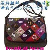 ショルダーバッグ 花刺繍 ダークカーキ ハンドメイド パッチワーク v0832