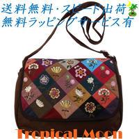 ショルダーバッグ 花刺繍 ダークブラウン ハンドメイド パッチワーク v0830