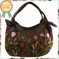 刺繍 バッグ ブラウン ミニ ハンドメイド 花 v1023