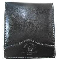 二つ折り 財布 メンズ ブラック 本革 レザー 牛革 薄型 送料無料 9039