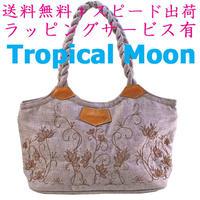 刺繍 バッグ レディース パープルグレー ロータス ミニ ハンドメイド v1100