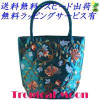 刺繍バッグ レディース コバルトブルー シルク 花 ベトナム 雑貨 ハンドメイド v0865