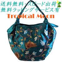 刺繍 バッグ ターコイズ ミニ 花 シルク ハンドメイド v0885
