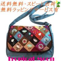 ショルダーバッグ 花刺繍 スモーキーブルー ハンドメイド パッチワーク v0831