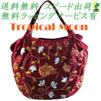 刺繍 バッグ レッド ミニ 花 シルク ハンドメイド v0887