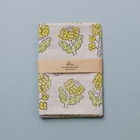 【綿麻手拭い】菜の花 / ブロックプリント
