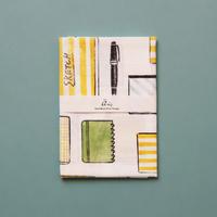 【手拭い】ノートとペン(蜜柑色)/ ブロックプリント