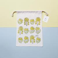 【巾着(大)】菜の花 / ブロックプリント
