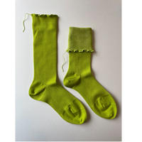 ヒムカシ靴下 washable wool ・muscat × lime green