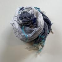 tamaki niime  roots shawl MIDDLE cotton  I.ホワイト×ネイビー×ブルー系