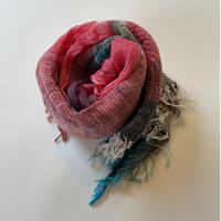 tamaki niime  roots shawl MIDDLE cotton  J.レッド×ホワイト×ターコイズ系