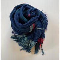 tamaki niime  roots shawl MIDDLE cotton  A・ネイビー×グリーン系