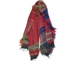 tamaki niime roots shawl MIDDLE ウール×コットン  I:レッド×ネイビー×ブラウン